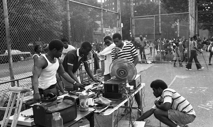 An old picture of a Bronx block party