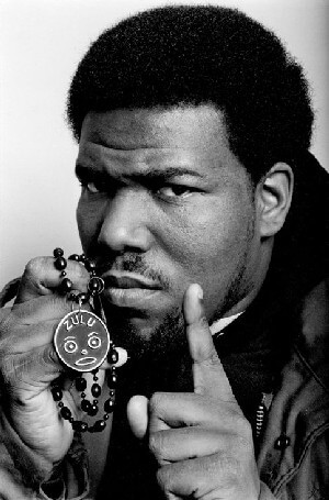 A portrait picture of Afrika Bambaataa