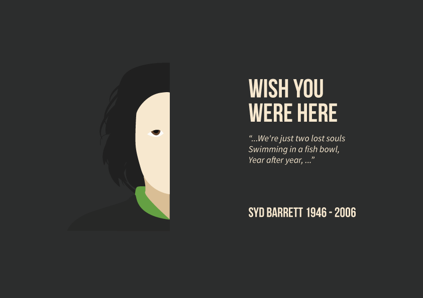 """Wish you were here"" slide from Pink Floyd project."